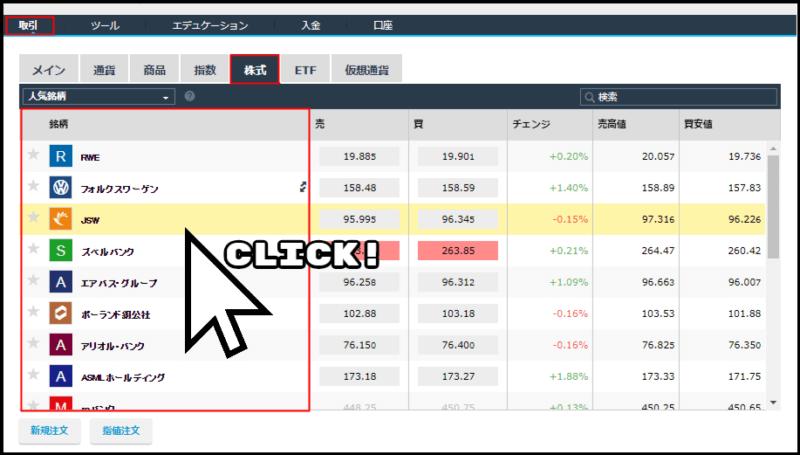 株式CFDの注文方法